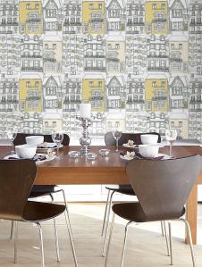 The wallpaper chosen for the kitchen